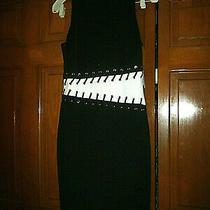 Nwt 128-Guess  Black Strech Bodycon Dress -White Insert for Waist Zip Back Sz6 Photo