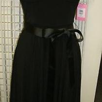Nwt 128 Isaac Mizrahi Black Jersey Maxi Dress W/corset Top Flare Skirt/sash 10 Photo