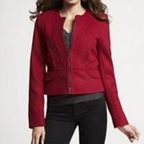 Nwt 138 Express Short Seamed Coat Jacket Red Lacquer Size Xs Photo