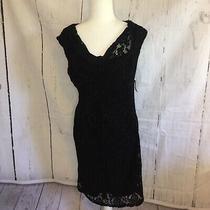 Nwt 139 Anne Klein Black Lace Floral Sheath Pencil a Line Dress Sz 8 Photo