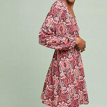 Nwt 148 Anthropologie Maeve Paisley Belted Dress Fit-and-Flare S Red Metallic Photo