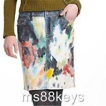Nwt 148 Anthropologie Night Garden Handpainted Denim Skirt Wearable Art Sz 29 Photo