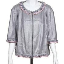 Nwt 14p Chanel Gray Silver Chain Jacket Fr-48 Photo