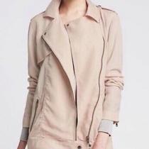 Nwt 150 Banana Republic Size L 100% Tencel Drapey Moto Jacket Blush Pink New Photo
