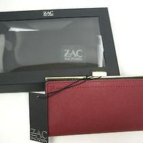 Nwt 150 Zac Posen Large Wallet Quartz Burgundy Red Wallet 3414-19 Photo
