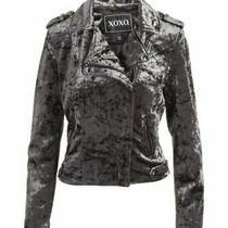Nwt 155 Xoxo Womens L Velvet Moto Zipper Side Pockets Jacket in Gray Photo