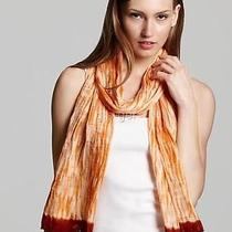 Nwt 158 Eileen Fisher Silk Shibori Wave Burnout Wrap Scarf Saffron 76 X 15 Photo