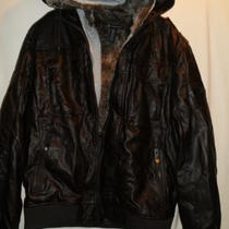 Nwt 159 Inc Faux Fur Lining Pleather Coat Bomber Jacket Dark Brown Size M G88 Photo