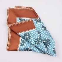 Nwt 160 Tom Ford Aqua Blue-Green Clover Print Silk Pocket Square Hand-Rolled Photo