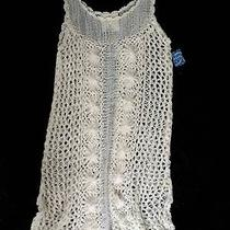 Nwt 168 Free People Intimately White Crochet Sheer Knit Flower Cover Up Dress M Photo