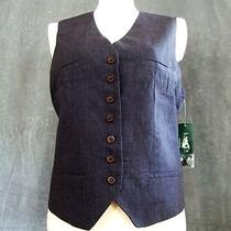 Nwt 169 Ralph Lauren Pin Striped Classic Linen Navy Vest Satin Back 12 Mothers Photo