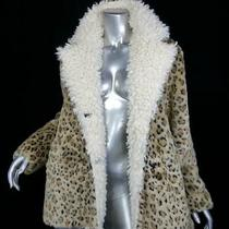 Nwt175luluss/mbrown Blonde Faux Shearling Faux Mink Fur Leopard Coat Jacket Photo