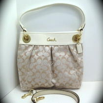 Nwt 17599 Coach Ashley Signature Light Khaki Sateen Hippie - Retails  278.00 Photo