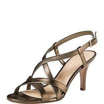 Nwt 178 Cole Haan Barlett Crisscross Leather Sandals Gold Metallic Size 8 Photo
