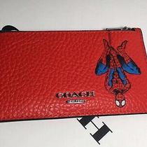 Nwt 1857 Coach  Marvel Zip Card Case With Spider-Man Photo