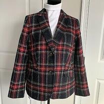 Nwt 189 Talbots Aberdeen Black Red Plaid Wool Blend Blazer Jacket Sz 12  Photo