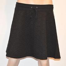 Nwt 195 Aiko Quilted Black Fluted Skater Draw String Waist Skirt Sz Medium Photo