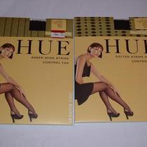 Nwt 2 Pairs Hue Control Top Pantyhose Black Size 1 Photo