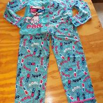 Nwt 2 Pc Girls Pajama Set- Aqua With Cool Cat- Medium 7-8 Photo