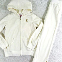 Nwt 2 X  Juicy Couture Todd Girl White Velour Hoodie  Pants Tracksuit Set Sz 4t Photo