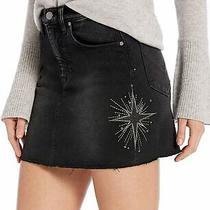Nwt 215  Hudson Viper Denim Mini Skirt W/star Embroidery in Interstellar   26 Photo