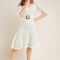 Nwt 220 Anthropologie Maeve Belted Eyelet Dress Linen Embroided White Aline 12  Photo
