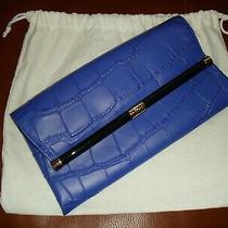 Nwt 248 Dvf Diane Von Furstenberg 440 Env Bright Blue Croc Leather Clutch Purse Photo