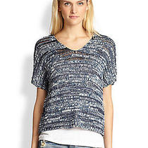 Nwt248 Eileen Fisher Brushstroke Cotton Tape Denim Blue v-Nk Shaped Top L Photo