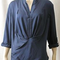 Nwt 248 Elie Tahari Silk Zaria Blouse Navy Blue Draping Top Size Xl 14 Photo