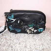 Nwt 250 Coach Pebble Leather Butterfly Applique Crossbody Clutch 53957 Photo