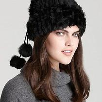 Nwt 250 Surell Rabbit Fur Loop Muffler/hat With Pom-Poms Color Black  Photo