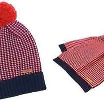 Nwt 255 Coach Tricolor Tuckstitch Wool/cotton Winter Hat & Scarf Set Red/multi Photo