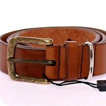 Nwt 260 Dolce & Gabbana d&g Brownleather Logo Belt Cintura S.85 Cm / 34 Inch Photo