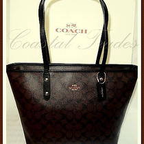 Nwt 295 Coach Leather Zip Top Tote Signature Shoulder Bag Brown Black & Receipt Photo