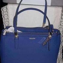 Nwt 298 Coach 30128 Madison Lacquer Blue Saffiano Small Christie Carryall  Bag Photo