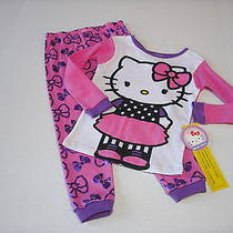 Nwt 2pc Hello Kitty Pink Bow Print L/s Top & Pants Pajamas Sz 4t Photo