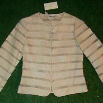 Nwt 3730 Armani Collezioni Ivory/beige Leather/sheer Jacket/blazer Women's 2 Photo