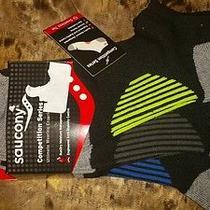 Nwt 3 Pair Saucony Competition Series Men's Socks Size L Shoe Size 8-12 Black Photo