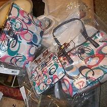 Nwt 3 Piece Ikat Print Coach Purse  Weekend Tote  and Wristlet Combo Set Photo