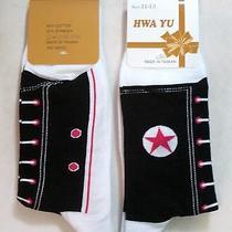 Nwt 3 Unisex Converse Shoe Design Crew Boots Socks Black Photo