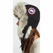 Nwt 325 Canada Goose Aviator Hat Black Fur Trim S/m Black Blogger Snow Warm Photo