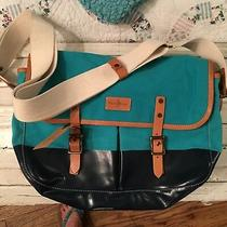 Nwt 328 Cole Haan Canvas & Leather Messenger Bag Turquoise Navy Tablet Festival Photo