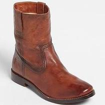 Nwt 328 Frye Anna Shortie Leather Ankle Boots Cognac Brown Sz 8.5 Photo