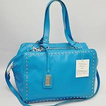 Nwt 345 Badgley Mischka Nina Cube Satchel Bag Handbag Tote Turquoise Blue Photo