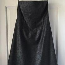 Nwt 355 Theory 'Conie' Mica Stretch Wool Metallic Grey Strapless Empire Dress 0 Photo