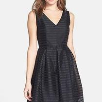Nwt 356 Shoshanna Black Ribbon Stripe 100% Silk Organza Fit & Flare Dress 0 Xs Photo