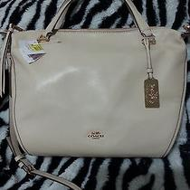 Nwt 358 Coach Madison Smythe Leather Satchel in Milk 32405 Photo