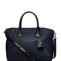 Nwt 368 Michael Kors Navy Blue Campbell Large Leather Satchel Bag  Photo
