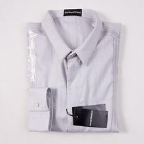 Nwt 375 Emporio Armani Light Gray Slim-Fit Cotton Shirt L Taped Seam Detail Photo