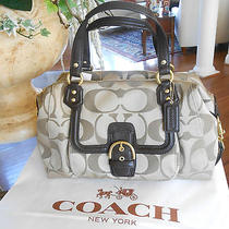 Nwt 378 Coach Signature Campbell Satchel Khaki and Mahogany 25292   Photo